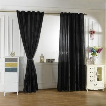 6色2サイズ選べる ブラックアウト 窓 カーテン サテンカーテン 窓ブラインド ロッドポケットカーテン エレガント - ブラック, 150x250cm