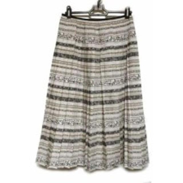 b9e38ae51245 ロイスクレヨン Lois CRAYON スカート サイズM レディース 美品 アイボリー×グレー×マルチ プリーツ