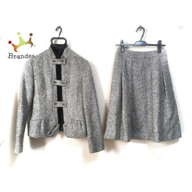 ヒロコビス HIROKO BIS スカートスーツ サイズ9 M レディース シルバー×ベージュ×黒 ツイード         スペシャル特価 20190715
