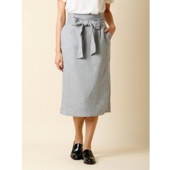 CLEAR IMPRESSION / リボンベルト付きIラインスカート