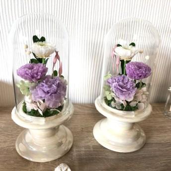 プリザーブドフラワー 供花 仏花 クリアドーム ボトルフラワー ホワイト