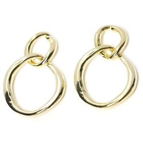 値下げ【4個入り】動く不規則で手作り感あるDouble Ring光沢ゴールドチャーム