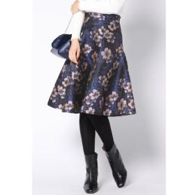 QUEENS COURT / 【大きいサイズ】フラワージャガードフレアスカート