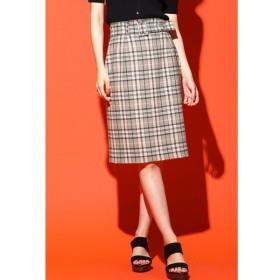 QUEENS COURT / ベルト付きチェックタイトスカート
