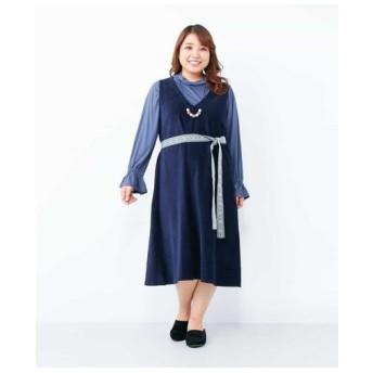 eur3 / 【手洗いOK】【大きいサイズ】コーデュロイジャンパースカート