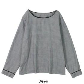 シャツ ブラウス レディース TR素材ノーカラーチェックブラウス LL〜5L  「ブラック」
