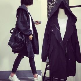 ロングコート 体型カバー あったか 薄手 長袖 無地 帽子付き ファスナー ジャケット 防寒保暖 フード付 【大きいサイズ】