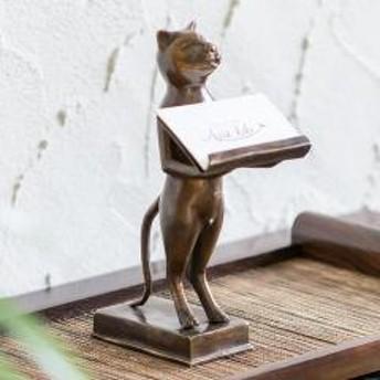 バリ猫のオブジェにもなる真鍮のカードスタンド (8321)【バリネコ オブジェ 猫 置物 店舗用 飾り 動物 ねこ 金属製 インテリア 真鍮製 置き物 名刺スタンド アンティーク調 リゾート レスト