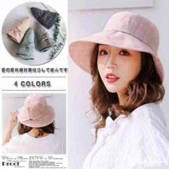 帽子 ハット バケットハット レディース リボン付 チェック UV 折りたたみ 無地 紫外線対策 UVハット uvカット帽子 オ