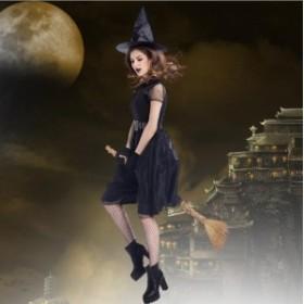 ハロウィン コスプレ ハロウィン 衣装 ウィッチ コスチューム 仮装 コスプレ 4点セット 大人用 レディース 魔女 魔法使い 可愛い 巫女