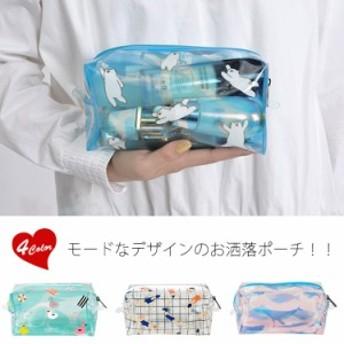 クリアポーチ 透明 化粧ポーチ コスメポーチ 小物入れ かわいい 旅行 携帯 プール 海 収納 ファスナー付き トラベル