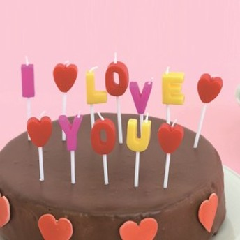 キャンドル ろうそく アイラブユーキャンドル ギフト ( ローソク ロウソク ケーキ用 ケーキキャンドル パーティーキャンドル 文字 英語