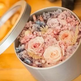 しなやか♪ 【大サイズ】たっぷりローズのBOXアレンジメント★ボックス/バラ/薔薇/紫陽花/プリザーブドフラワー