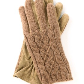 【公式/NATURAL BEAUTY BASIC】ケーブル編みグローブ/女性/手袋・帽子/キャメル/サイズ:FR/(甲部)毛 ナイロン(掌部)豚革(裏生地)ポリエステル 100%