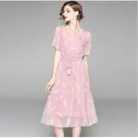 ドレス ワンピース ひざ下丈 半袖 ピンク ブルー 30代 上品 エレガント きれいめ 春夏 結婚式 お呼ばれ a791