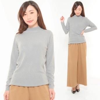 ニット・セーター - CLOTHY ■カシミヤタッチ■リブ 無地 ハイネック 長袖 ニット (M/L)