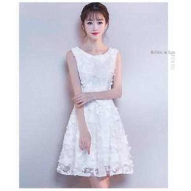 a5d416e824050 ドレス ワンピース ミニ丈 ノースリーブ レース ホワイト 30代 上品 エレガント きれいめ 春夏 結婚