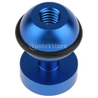 ホットシュー 1/4インチ ボールヘッド 360度 スイベルフラッシュブラケット ダイビング アルミニウム合金 全3色 - 青