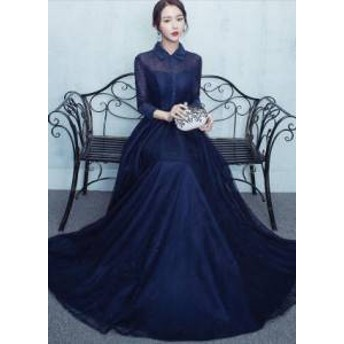 ドレス ワンピース ロング丈 七分袖 襟付き 大人可愛い きちんと感 20代 上品 きれいめ 春夏 結婚式 お呼ばれ a659