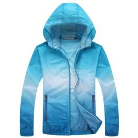 Lovoski UV対策 薄手 軽量 スポーツ 速乾 アウトドア 登山 ジャケット スキンコート 全6サイズ4色選べる - 青, 3XL