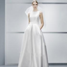 ウエディングドレス エレガント ビジュー ハイウエスト ホワイト