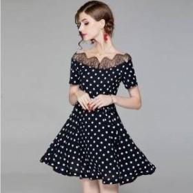 ドレス ワンピース ミニ丈 半袖 ブラック オフショルダー ドット 30代 上品 エレガント きれいめ 春夏 結婚式 お呼ばれ a732