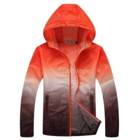 Lovoski UV対策 薄手 軽量 スポーツ 速乾 アウトドア 登山 ジャケット スキンコート 全6サイズ4色選べる - オレンジとブラウン, XXL