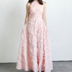 ふわふわ フェザー アメリカンスリーブ ドレス ピンク