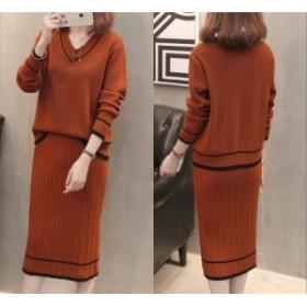ルーズフィット ニット セットアップ 大人可愛い スカート セーター 秋新作 vネック  ケーブル リブニット 2点セット 全4色