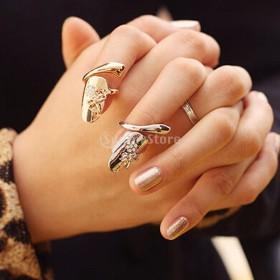 ノーブランド品ファッション パンク トンボ 花 指先 爪 リング ネイルリング 贈り物 ジュエリー ゴールド