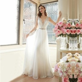 Vネック ノースリーブ シフォン ロング ウエディングドレス 結婚式 ホワイト