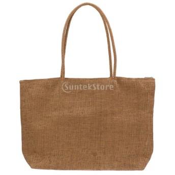 女性 夏 ビーチ ストロー わら ショルダーバッグ トートバッグ 財布 鞄 ギフト 全16色 - ライトブラウン