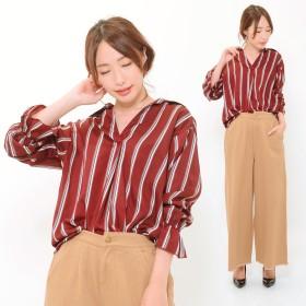 シャツ - CLOTHY ストライプ プリント キャンディスリーブ スキッパー 襟 長袖 シャツ