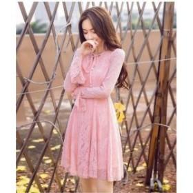 ドレス ワンピース レース ミニ丈 長袖 袖あり 20代 黒 ピンク ベルスリーブ 大人可愛い ガーリー 春夏 結婚式 お呼ばれ a308