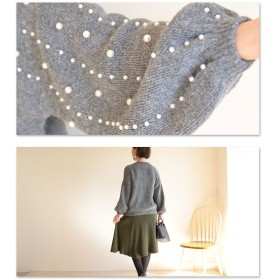 ニット・セーター - Sawa a la mode パールのラインが美しいニット。レディース ファッション トップス ニット パール 長袖 グレー フリーサイズ M L LL MサイズLサイズ LLサイズ 9号 11号 13号 15号 サワアラモード Sawa a la mode