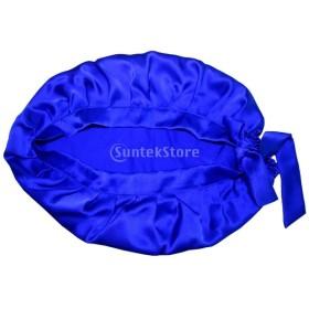 女性 シルク ナイトキャップ 睡眠 室内帽子 お休み用の帽子 就寝用帽子 通気性抜群 美髪 全10色 - ロイヤルブルー