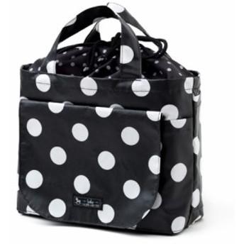 おむつポーチ 巾着トートタイプ polka dot large(broadcloth・black) B1305000
