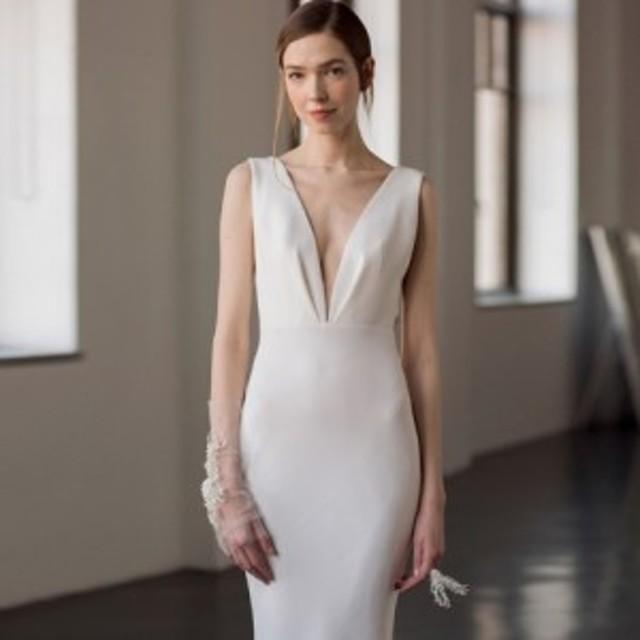 ウエディングドレス フィッシュテール Vネック パーティー ホワイト
