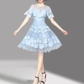 ドレス ワンピース ひざ丈 半袖 レース ガーリー ブルー 20代 上品 エレガント きれいめ 春夏 結婚式 お呼ばれ a752