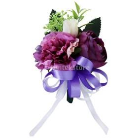 コサージュ 花 ローズ グロムスーツ 結婚式 アクセサリー 装飾 4色選べる - チャームパープル
