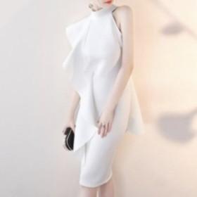 ワンショルダー ホルターネックドレス エレガント パーティー ミディアム 結婚式 ホワイト