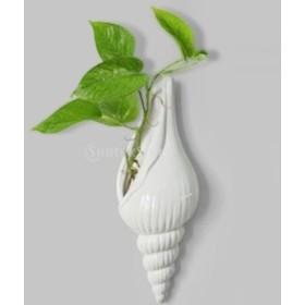現代的 白い 陶器 海 貝殻形 花 水耕栽培 花瓶 壁 家 装飾 ぶら下げ 飾り 3サイズ選べる - 1#