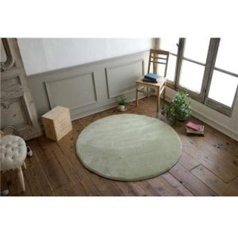 フランネル ラグマット/絨毯 〔直径140cm セイジグリーン〕 円形 低反発 高反発 防滑 防音 ホットカーペット対応 〔送料無料〕