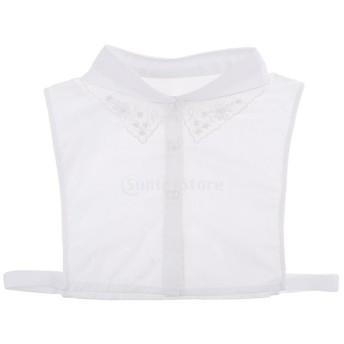 レディース 偽襟 取り外し可能 付け襟 ブラウス 刺繍 シフォン 人工パール 全2色 - 白
