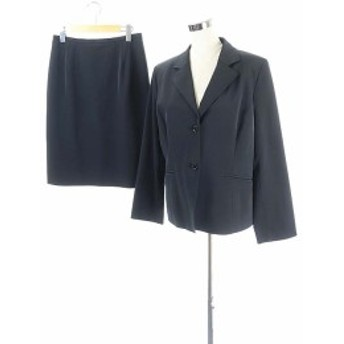 【中古】アリスバーリー Aylesbury スーツ セットアップ 上下 ジャケット テーラード 背抜き スカート ひざ丈 黒 レディース