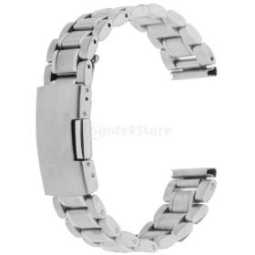 ステンレススチール クラスプ 腕時計バンド ストラップ 18mm 全3色 - 銀