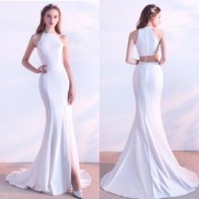 ウエディングドレス ホルターネック フィッシュテール ホワイト