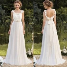 ラウンドネック ギリシャ女神調スリム シフォン ウェディングドレス 結婚式 ホワイト