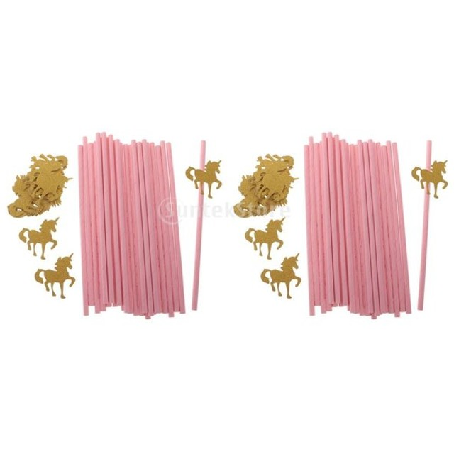 約50枚 ペーパー ストロー キッズ 誕生日 パーティー デコレーション キラキラ ゴールド ユニコーン ピンク 紙のストロー