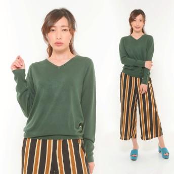 ニット・セーター - CLOTHY ■カシミヤタッチ■無地 Vネック 長袖 ニット (M/L)